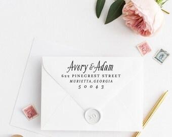 Custom Return Address Stamp, Self Ink Return Address Stamp, Personalized Address Stamp, Calligraphy Address Stamp Return Address Stamp No18
