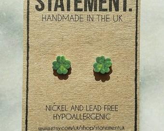 Irish Four Leaf Clover / Good Luck / St Patricks Day Stud Earrings - 1 pair