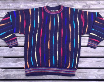 Vintage 80's / 90's Alan Stuart Textured Super Colourful Rainbow Made in USA large