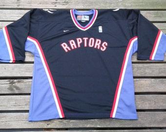Vintage Toronto Raptors Nike Hockey Jersey large NBA Black / Purple Basketball Sweater Rare