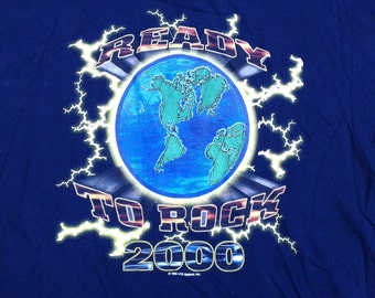 "Killer Year 2000 Y2K ""Ready To Rock in 2000"" novelty t-shirt Made by Novel Teez XL"