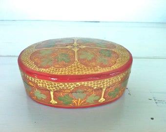 Hand Painted Trinket Box/Oval Kashmir Paper Mache Lacquered Trinket Box/India Hand Painted Trinket Box/Oval Trinket Box/Oval Ring Box/Box