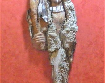 Scar Face - Cottonwood Bark Carving