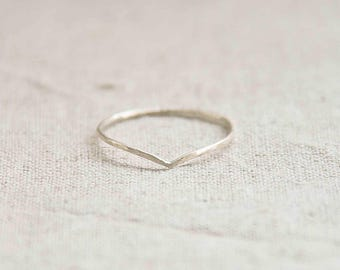 Curved Silver Ring, Stacking Ring, Unique Ring, Boho Ring, Stacking Silver Rings, Cute Ring, Everyday Jewelry, Geometric Ring, Triangle Ring