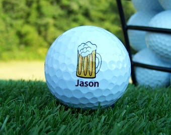 Emoji Beer Mug Golf Ball For Weddings / Birthday / Special Occasion / Personalized Custom Gift Set of 3, FAST SHIPPING!!