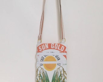 Small Crossbody Purse Recycled Rice Bag, Soft Cotton, Sun Gold Rice Cross Body Bag, Earth Friendly,