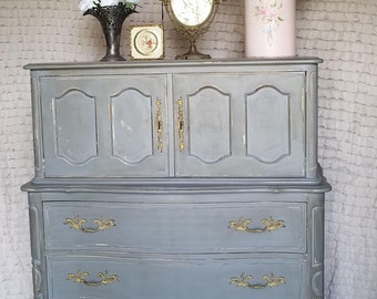 Vintage Chic, Drexel Armoire, Lingerie Chest of Drawers, Parisian Gray, Hand Painted, Mid Century, Boho Style and Shabby Chic