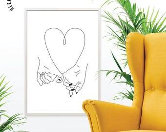 Tinky Promise Print, Love Print, minimalist art, love wall art, love print, affiche scandinave, love poster, illustration, line art, vector