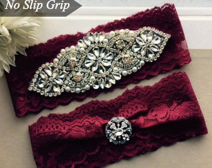 Burgundy Red Wedding Garter Set NO SLIP grip vintage rhinestones