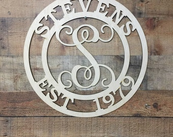 Wooden Family Signs, Family Established Signs, Last Name Signs, Anniversary Gifts, Wedding Established Sign   Unfinished Wooden Sign  