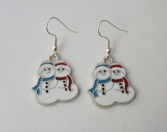 Christmas snowman earrings, white enamel earrings, festive frozen novelty earrings, stocking filler gift, sterling silver winter earrings
