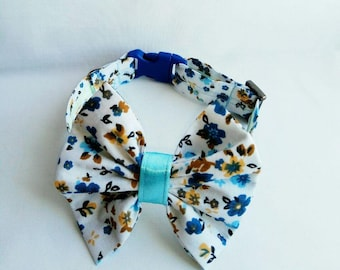 Cat collar with bow tie - bow ties for cats - cotton bow tie for cats - Christmas cat floral bow tie for cat