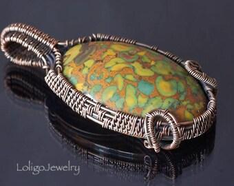 Wire Wrap Jasper Pendant, Wire Wrapped Copper Pendant, Jasper Pendant, Pistachio Jasper Pendant, Boho pendant