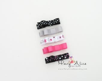"""Baby Hair Bow Set of 5- 1.75"""" Girls Hair Bow, Black Bows, Pink Bows, Toddler Hair Bow, No Slip Alligator Clip for Baby Girl- Made to Order"""