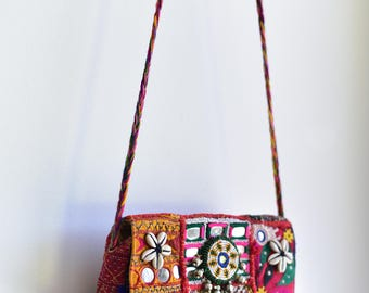 Embroidered Rajasthani bohemian music festival banjara gypsy tribal boho clutch hand bag vintage handmade indian