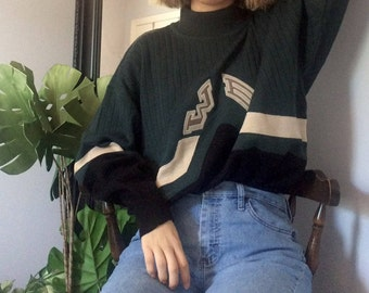 FREE SHIPPING** Green Sweater :  Unique Sweater, Sweater Dress, Vintage Sweater