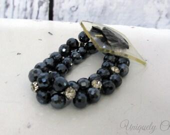 Wrist corsage black gemstone rhinestone bracelet, Wedding flower supply corsage bracelet, DIY wedding supplies
