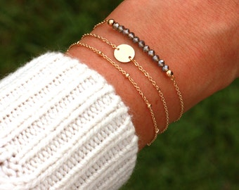 Tiny Initial Disk Bracelet | Personalized Initial Disc Bracelet, Dainty BRACELET SET | Bead Bar Bracelet | Tiny Initial Disk Gold Bracelet