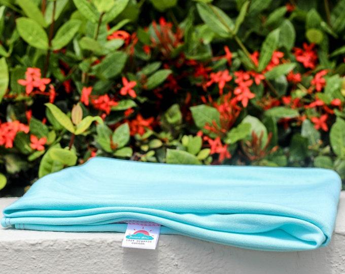 "24"" x 40"" aqua blue organic cotton t-shirt hair towel"