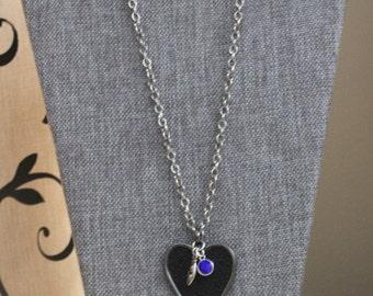Chain Necklace / Silver Chain / Heart Pendant / Gunmetal Chain / Gunmetal Pendant