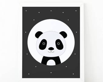 Panda Print, wall Art Print, Instant download, Nursery print, Kids Print, animal Nursery Decor, woodland printable, Animal Nursery Printable