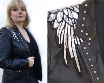 The Patti. Vintage black leather jacket with silver wings and silver studs