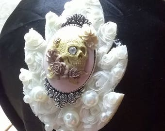 Pink & Pearl Gothic prom Feminine Skull Rockabilly Steampunk Hair band girly Goth alternative wedding special event