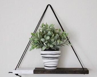 Two Tone Shelf - Swing Shelf  - Dip Dyed Shelf - Hanging Shelves - Hanging Shelf - Rustic Wood Shelf - Floating Shelf - Rope Shelf