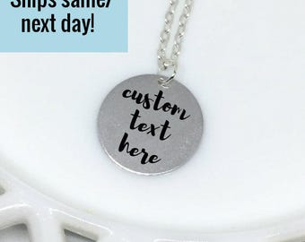 Custom Text Necklace, Custom Necklace, Engraved Necklace, Engraved Jewelry, Custom Engraved Necklace, Gifts Under 20, Custom Handwriting