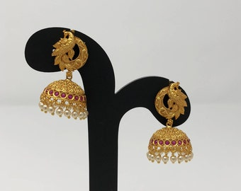 Temple Earrings - Temple Jhumka Earrings - Jhumki Jhumka Earrings - Temple Jewelry - Indian Earrings - Indian Jewelry - Bollywood Earrings