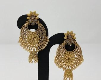 Indian Chandbali Earrings - Jhumki Jhumka Earrings - Indian Earrings - Indian Jewellery - Kundan Jewelry - Bollywood Earrings -