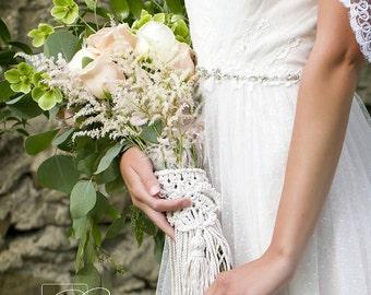 Wedding bouquet wrap,macrame bouquet wrap.