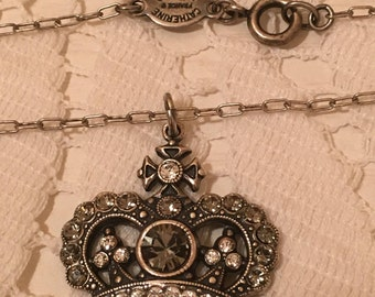 Catherine Popesco Crown Pendant Necklace in Antique Silver Tone with Champagne Gems - Made In France