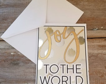 Joy to the World Card - Joy to the World Christmas Card - Shiny Christmas Card - Simple Christmas Card - Joy to the World - Elegant Card