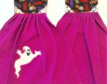 Halloween Towel SET of 2, Purple Hanging Towel, Halloween Kitchen Decor, Button Top Towel, Purple Kitchen Decor, Kitchen Tie Towel,Oven Door