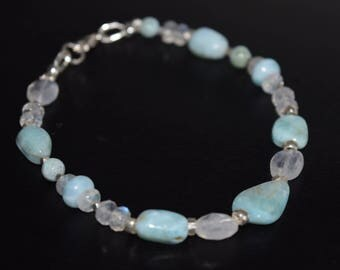 Larimar and Moonstone Bracelet~ Energy Healing Stones~ Relaxation and Insight Bracelet~ Genuine Larimar Bracelet~ Gifts for Her