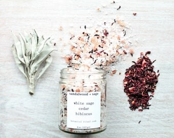 White Sage + Cedar + Hibiscus Ritual Bath Soak 8oz // Soaking Salt // Botanical Bath Salts // Cleansing Bath Salts // Aromatherapy bath salt