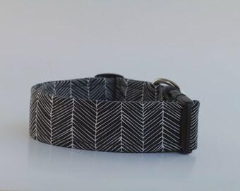 Black Herringbone Dog Collar