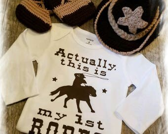 Crocheted,  Cowboy, Rodeo, Boots, Hat, Onesie and Vest Set , Super Adorable!