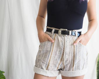 vintage high waisted cotton aztec cream printed shorts