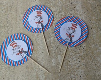 12Cupcake toppers Dr Seuss inspired/dr seuss toppers/dr seuss birthday party decorations/dr seuss party supplies/dr seuss cupcake toppers