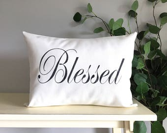 Blessed Pillow, Decorative Pillow, Rustic Home Decor, Accent Pillow, Personalized Pillow, Rustic Decor, Gift, Farmhouse Decor