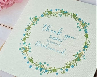 Personalised Thank you for being my Bridesmaid / Maid of Honour / Flower Girl etc card - 12.5cm square with kraft envelope