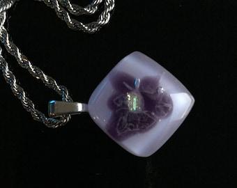 Glass Jewelry-Necklace-pendant-jewelry-pendant-necklace-chain-jewellery of glass-hotpot-glasfusion-Gift woman-gift women-lilac purple Jewellery-Flower