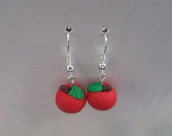 Apple Shaped Red Clay Earrings with Stems and Leaves