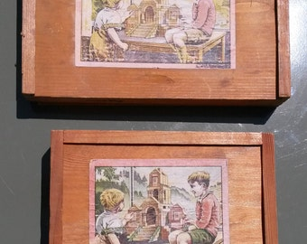 Vintage Children's Toys   Wooden Building Block Sets   Original Boxes   Made 1930's   Made in Germany