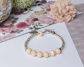 NUDE CRYSTAL bracelet, beige, Crystal, polished Crystal beads, Miyuki beads, glass beads, Pearl, pink, dusky pink, silver