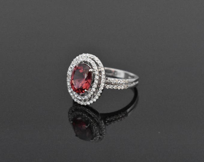 18K White Gold Red Spinel and Diamond Ring | Engagement Ring | Wedding Ring | Handmade Fine Jewelry | Diamond Halo | Double Halo Ring