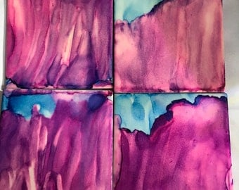 Hand Painted Alcohol Ink Coasters 4 Piece Set