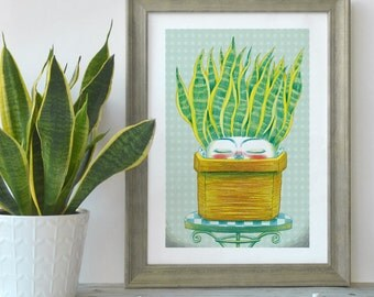 Printed illustration sansevieria plant, Succulent art print illustration, Christmas gift, Sansevieria digital print, Cactus art print